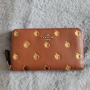 Coach apple print medium zip wallet NWT